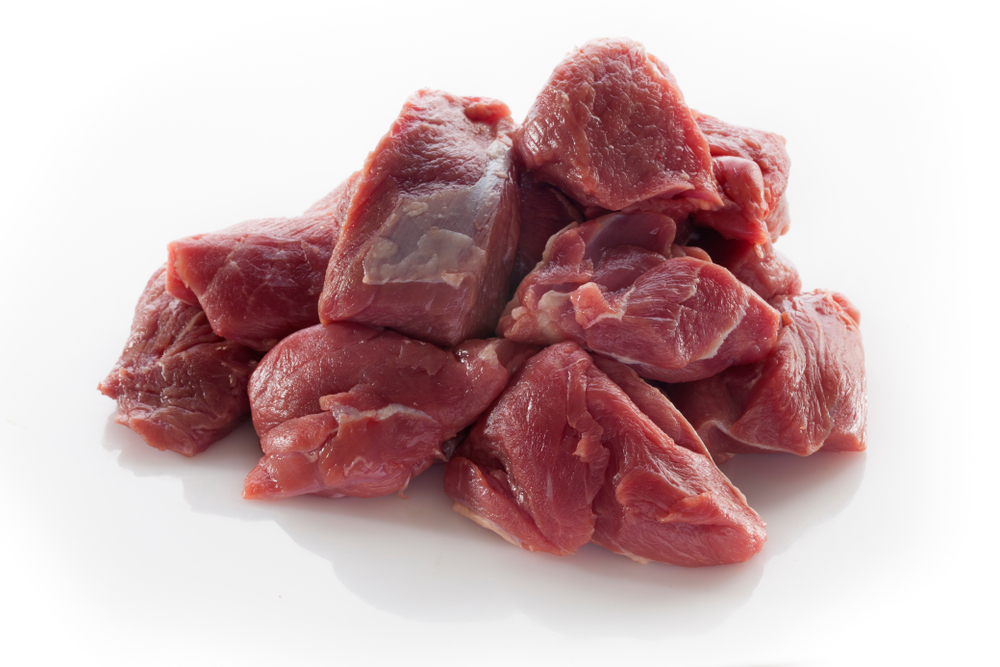 Photo showing goat meat chopped