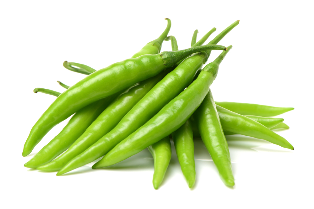Photo showing green chilli pepper